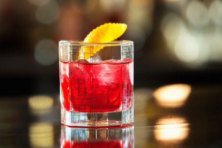 Closeup glass of red cherry juice at bar counter background. Kho ảnh
