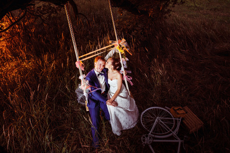 Beautiful wedding couple is kissing on swing outdoors at sunset field background. View from above. Kho ảnh