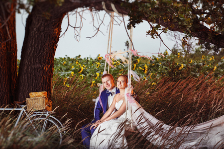 Elegant groom is and beautiful bride are sitting on a  swing at summer field background.