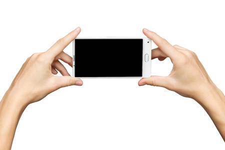 Mockup of female hands holding new frameless smartphone with black screen at isolated background.