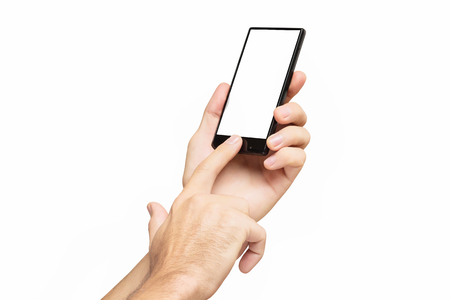 Mockup of male hand holding black cellphone and sliding blank screen isolated at white background. Archivio Fotografico