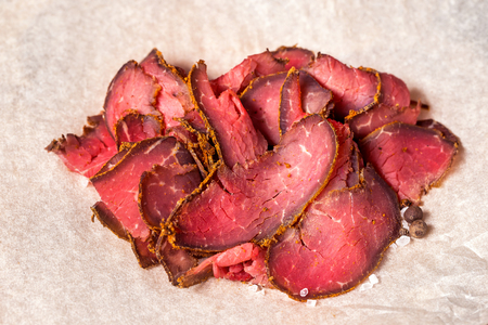 Closeup meat set of New York pastrami at paper background. Фото со стока