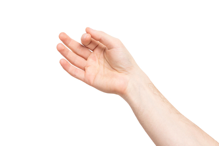 Closeup isolated male hand holding invisible object at white background.