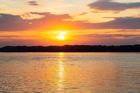 Beautiful sunset landscape of Volga river, Russia. Фото со стока