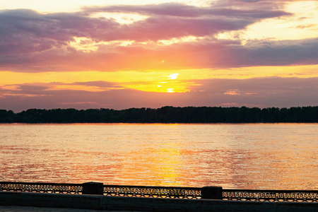 Sunset cityscape of Volga river embankment, Samara, Russia. Фото со стока