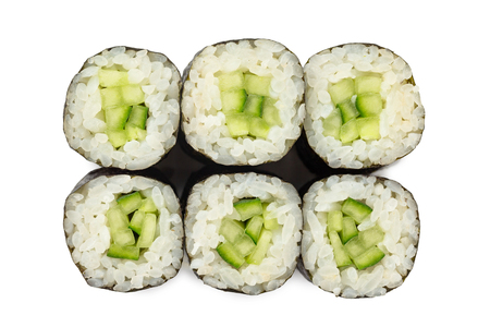 Top view closeup japanese classic vegetable sushi rolls with cucumber isolated at white background. Imagens