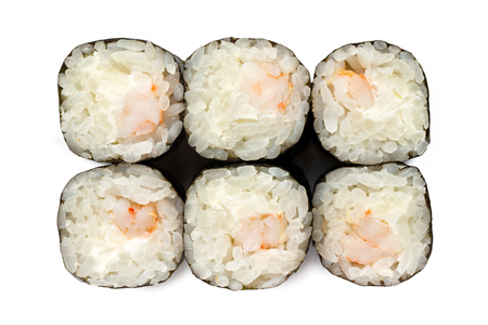Top view closeup japanese classic sushi rolls with shrimp isolated at white background. Imagens