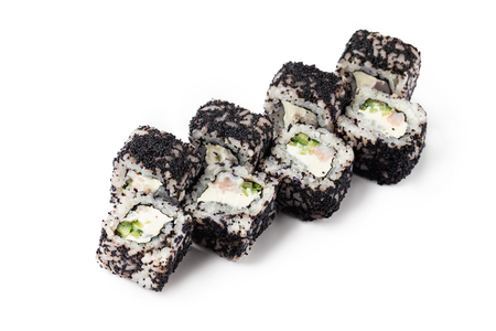 Closeup california sushi rolls set with cucumber, crab meat and black masago caviar isolated at white background.