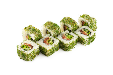 Closeup set of sushi rolls with dill, eel and cucumber isolated at white background.