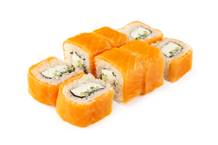 Closeup set of japanese philadelphia sushi rolls set with salmon isolated at white background.