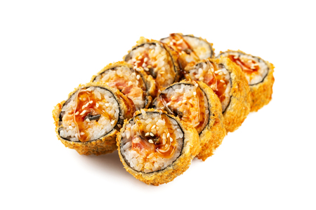 Closeup set of tempura fried sushi rolls with eel served with teriyaki isolated at white background. 写真素材