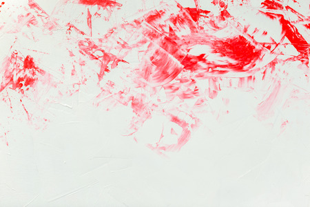 Textured white marble background with red painting