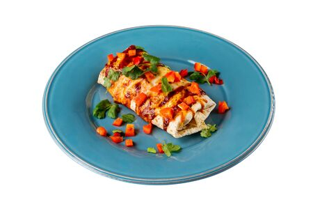 Mexican traditional meal - chicken breast enchiladas served with chilli sauce on a plate isolated at white background. Standard-Bild