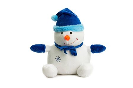 Closeup image of soft toy snowman as a symbol of new year isolated at white background.