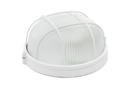 Closeup image of modern outdoor round lamp isolated at white background.