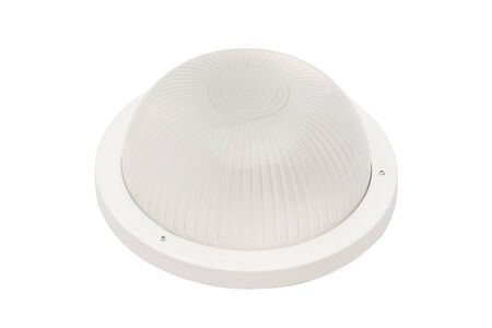 Closeup image of round street lamp with wall mount isolated at white background.