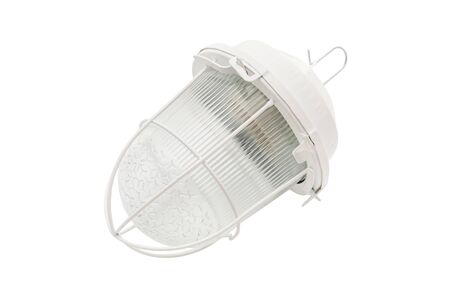 Closeup image of outdoor lantern lamp isolated at white background. Stok Fotoğraf - 129549789