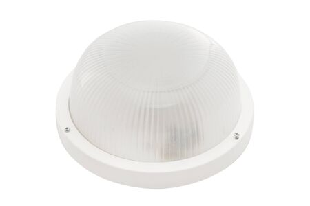 Closeup image of round outdoor luminaire isolated at white background. Stok Fotoğraf