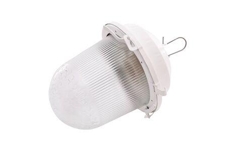 Closeup image of outdoor lantern luminaire isolated at white background. 版權商用圖片