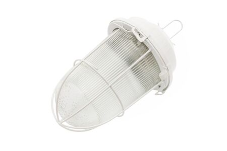 Closeup image of outdoor lantern lamp isolated at white background.