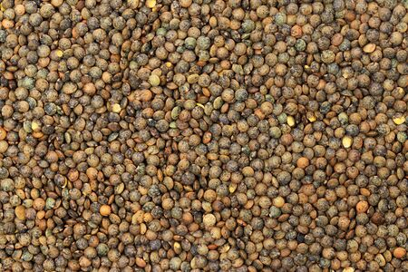 Flatlay closeup image of brown lentils as a natural healthy food background. Banco de Imagens