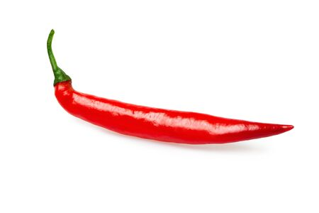 Closeup image of red hot chili cayenne pepper isolated at white background. Spicy natural food. Фото со стока