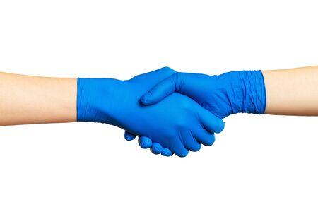 Handshake in gloves isolated at whitebackground.. epidemic 2020. coronavirus. the fight versus the virus. pandemic. covid-19