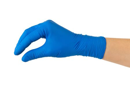 Closeup mockup of female hand in medical protective gloves isolated at white background. Holding gesture.