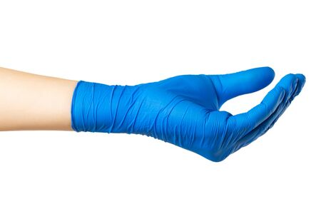 Closeup mockup of female hand in medical protective gloves isolated at white background. Showing gesture. 版權商用圖片