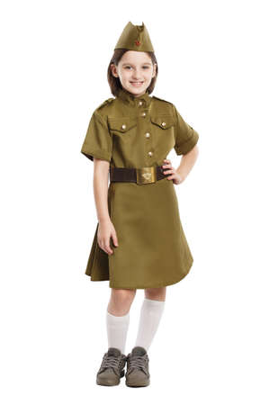 Portrait of pretty girl in USSR military nurse uniform isolated at white background. Concept of russian soldier for 9 May holiday celebration. 写真素材