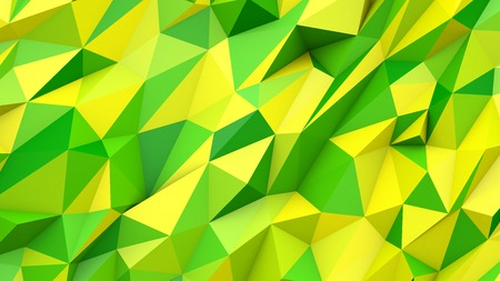 Green yellow abstract crystal mosaic creative triangles poly colors geometric polygonal shape background Banco de Imagens