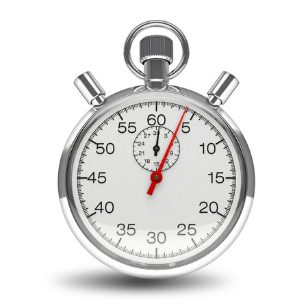 Stopwatch mechanical 3d chronograph clock timer chrome isolated on white background
