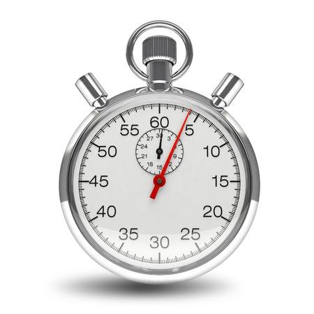 cron�grafo: Cron�metro mec�nico 3d reloj cron�grafo cron�metro de cromo aislado en fondo blanco Foto de archivo