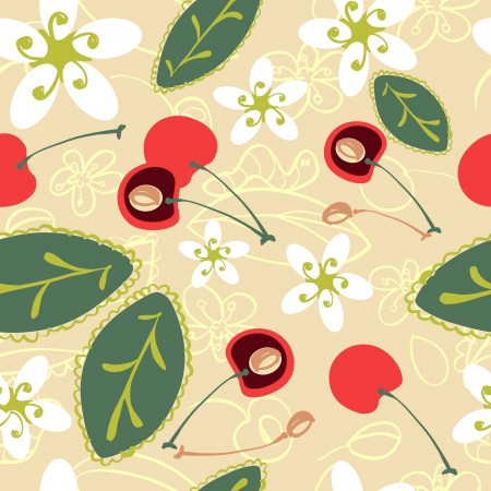 cherry orchard pattern Vector