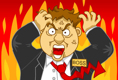 hot temper: Ilustración de un hombre de mucha hambre que trata al control sueltos