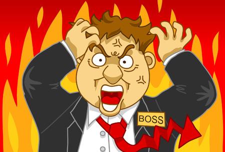 hot temper: Ilustraci�n de un hombre de mucha hambre que trata al control sueltos
