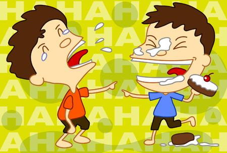Illustration of two men play practical joke on each other.