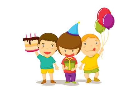 Illustration of three young boys celebrate a birthday with cake and balloons.