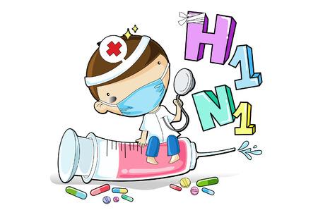 vacunacion: Ilustraci�n de un m�dico inyecta la vacuna de la gripe porcina para luchar contra el virus h1n1