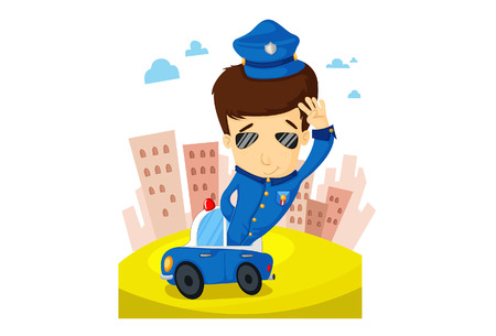 Illustration of police patrols a city in a police vehicle. Stock Vector - 5630508