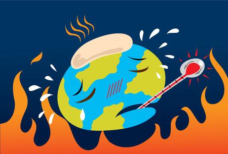 Afbeelding van de aarde voelen ziek van mondiale opwarming van de aarde en vervuiling probleem. Vector Illustratie