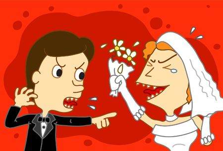 Illustration of a bride and groom who fight each other at their wedding.