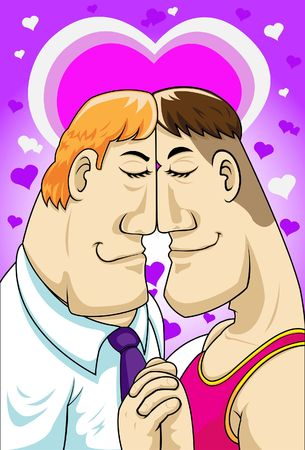 Illustration of two homosexual guys who are very much in love.