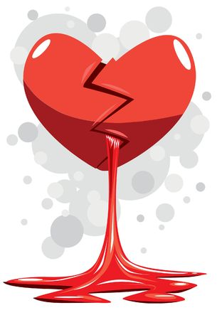 A illustration of a heart that broken and bleeding Stock Photo