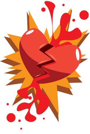 An illustration of a heart that has broken into two after falling Stock Photo