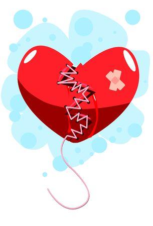 separacion de basura: Una imagen del coraz�n roto que ha sido cosido con hilo