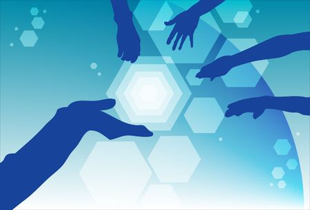coming together: An image of silhouettes of hands coming together Stock Photo