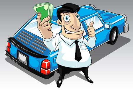 collateral: Image of a man who get approval for his car loan. Stock Photo