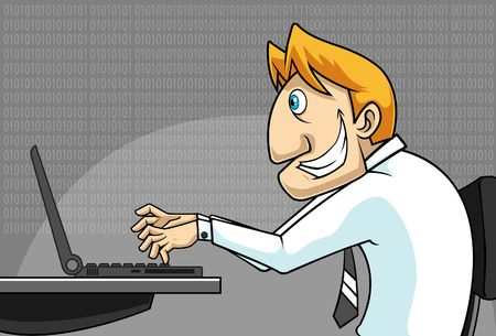 Image of a man who is doing a research on a computer