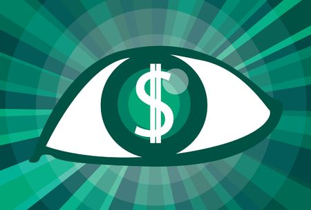 An image of an eye with a dollar sign in the pupil Stock Photo - 5833824